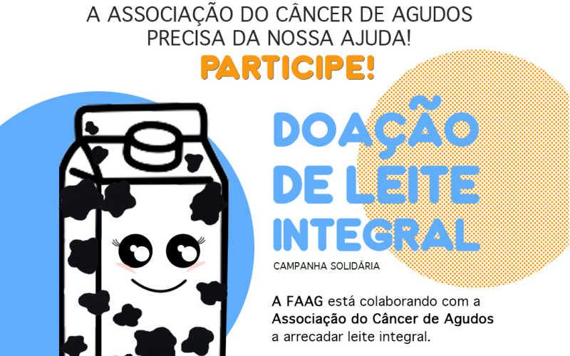 FAAG faz campanha para arrecadação de Leite para a Associação do Câncer de Agudos